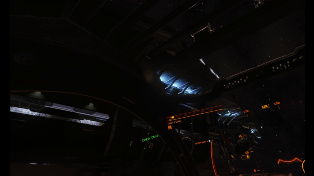 A terrible shot of the undercarriage of an Anaconda in Elite Dangerous