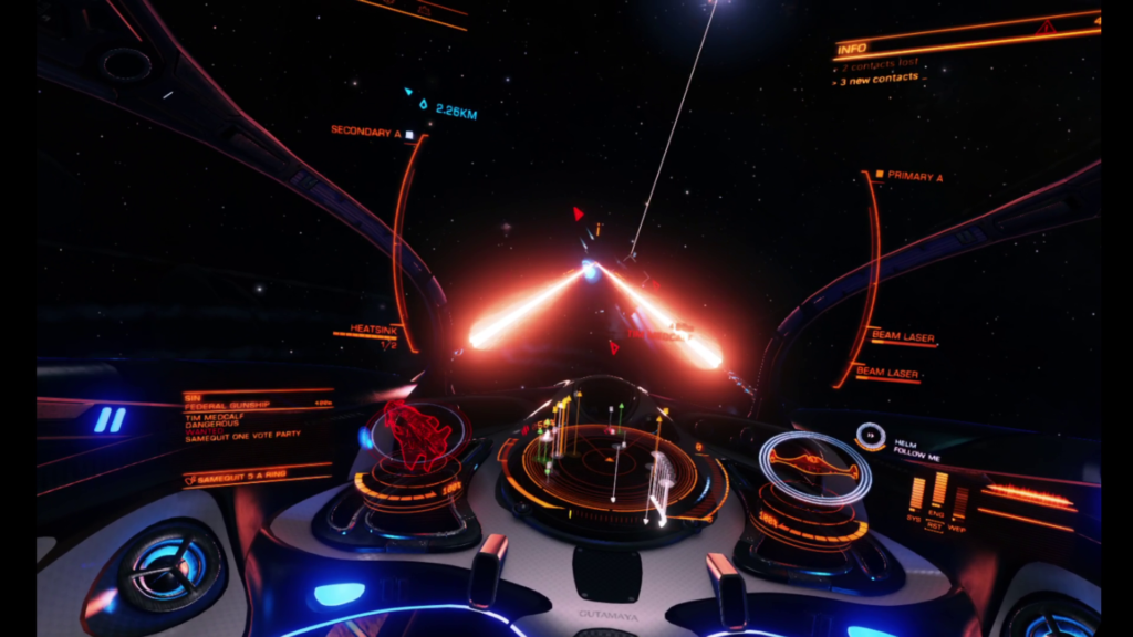 Lasers fire from a ship-deployed fighter in Elite Dangerous