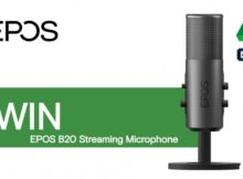 A logo for EPOS and a picture of the microphone from the competition