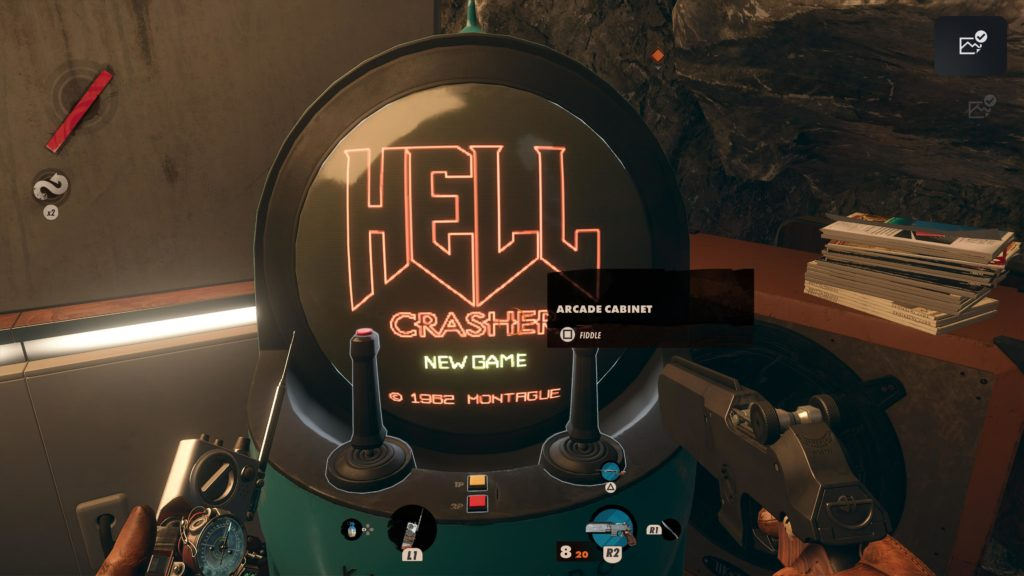 A screenshot of the Hell Crashers arcade cabinet in Deathloop