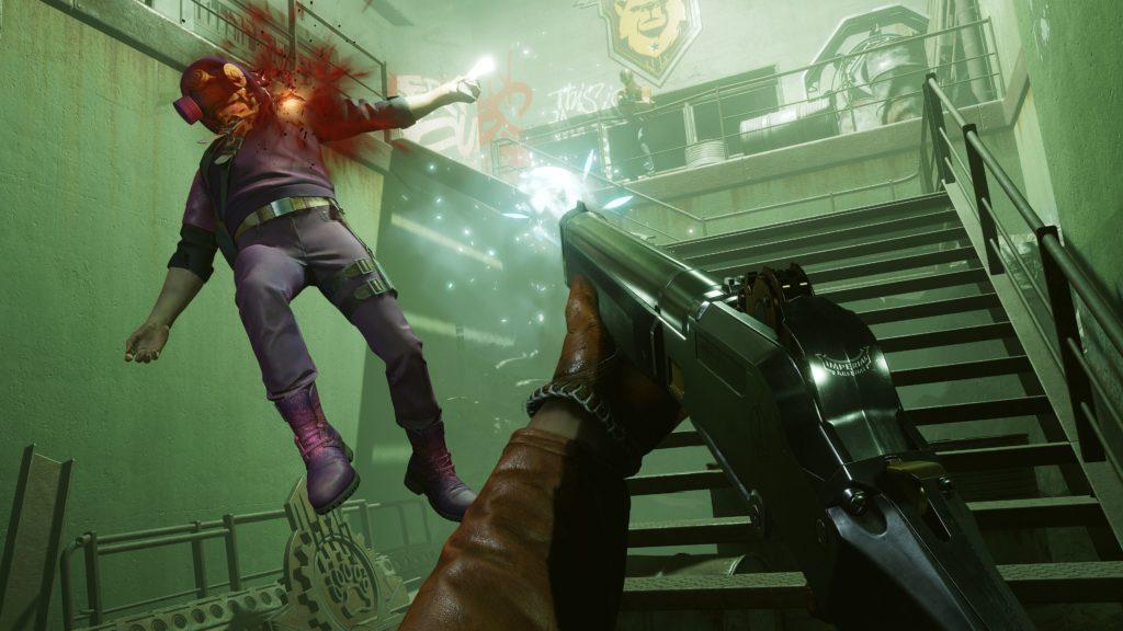 A man gets shot by a shotgun in Deathloop