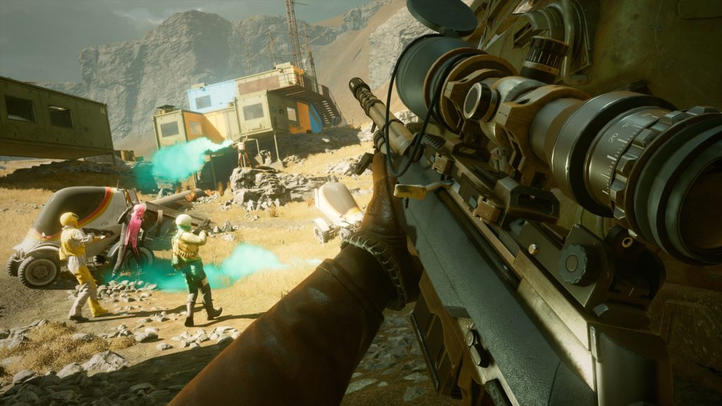 The player has this big bloody sniper rifle in Deathloop